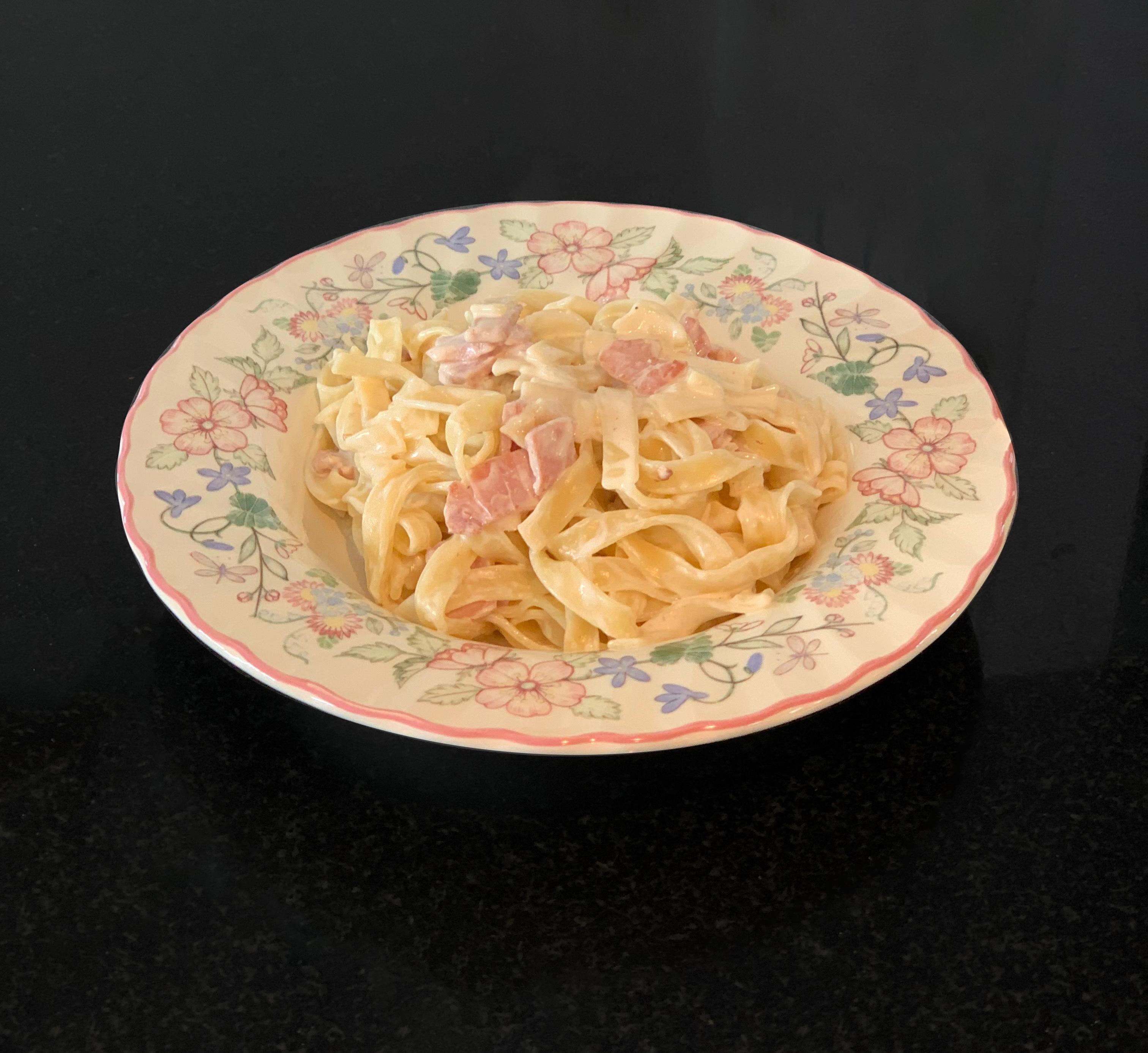 Tagliatelles carbonara & sirop d'érable